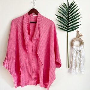 Anthropologie Pure+Good Pink Ribbed Shawl Cardigan